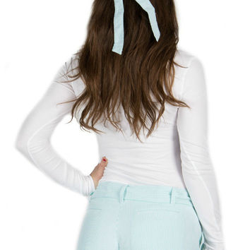Lauren James Seersucker Bow Hat in Mint