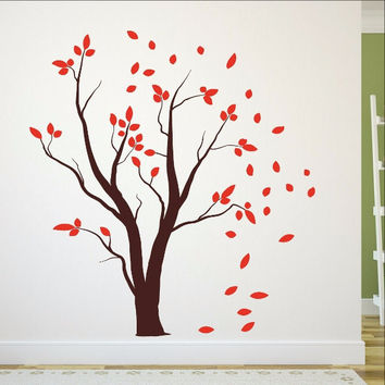 Tree with Falling Leaves Vinyl Wall Decal 22457