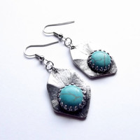Blue Turquoise Earrings, Blue Earrings, Teal, Silver and Blue, Bohemian, Boho, Dangle and Drop