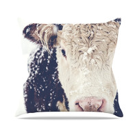 "Debbra Obertanec ""Snowy Cow"" Black White Throw Pillow"