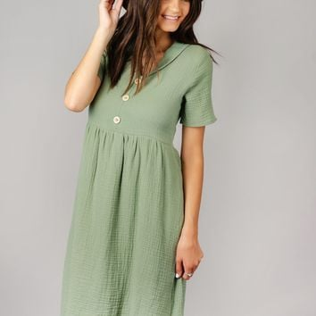 Crinkled Gauze Midi Dress