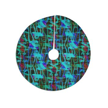 "Miranda Mol ""Hyper Camo Teal"" Teal Blue Modern Abstract Mixed Media Digital Tree Skirt"