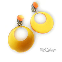 Vintage Yellow / Orange Lucite Hoop Earrings, Moon Glow Yellow Hoop Clip Earrings