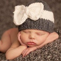 Children Beanie Hats Newborn Crochet Baby Hat for Children Photography Props Knitting Infant Hats Bow Cute Outfits