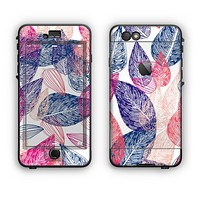 The Seamless Pink & Blue Color Leaves Apple iPhone 6 LifeProof Nuud Case Skin Set