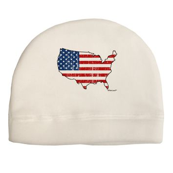 United States Cutout - American Flag Distressed Child Fleece Beanie Cap Hat by TooLoud