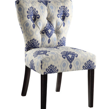 Ave Six Andrew Chair in Medallion Ikat Blue