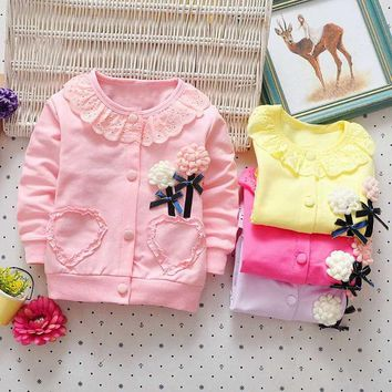 Nwe Spring Autumn kid's Children Baby Girls Lace Floral o-neck Jacket Outwear Cardigan Coat Y2475