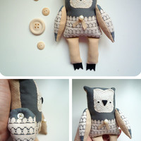 Cappuccino Manuel    - Little  owl, soft art  toy  by Wassupbrothers