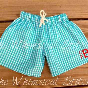 Boys Monogrammed Swim Shorts, Personalized Swim Trunks