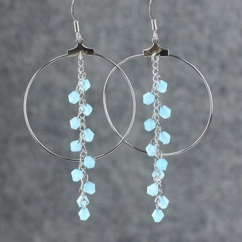 Teal large long chandelier large hoop earrings Bridesmaids gifts Free US Shipping handmade Anni designs