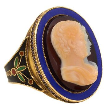 Antique Gold Enamel and Hardstone Double Portrait Cameo Ring
