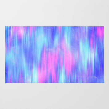 Aurora - Blur Abstract in Pink, Purple, Aqua & Royal Blue Area & Throw Rug by TigaTiga Artworks