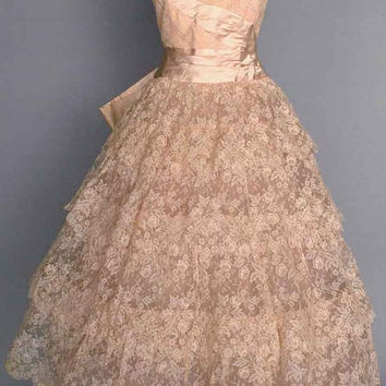 1950s Lace Wedding Dress, Vintage Wedding Dress, Pink Wedding Dress, 1950s Dress, Vintage Lace Dress, Tape Lace, Pink Lace Dress, Party Dres