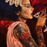 Bride Cocktail by Mike Bell Bride of Frankenstein Tattoo Artwork Art Print