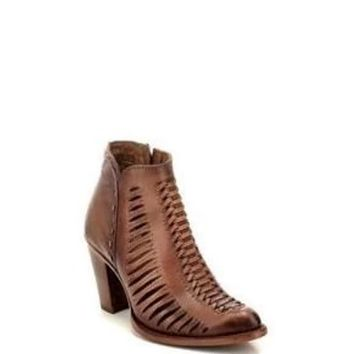 Corral Taupe Cutout Round Toe Ankle Boot #CU216