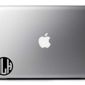 Monogram Vinyl Decal Custom Monogram Circle Set of 2 for Gadgets Laptops Tablets Walls and More + Free Shipping