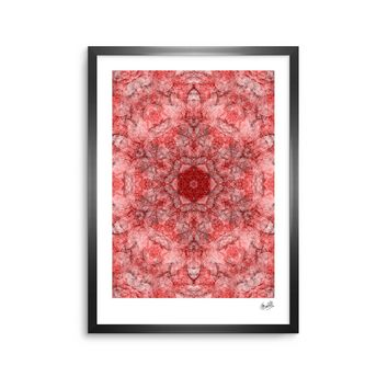 "Justyna Jaszke ""Mandala Red Art"" Red White Abstract Pattern Digital Mixed Media Framed Art Print"