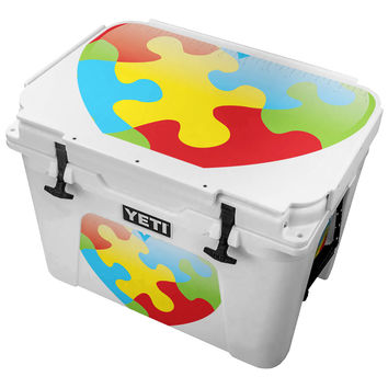 Autism Puzzle Pieces In Heart Shape Skin for the Yeti Tundra Cooler