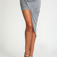 Wrap Jersey Asymmetrical Skirt