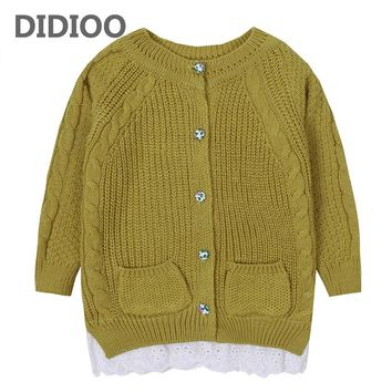Children Sweaters for Girls Open Stitch Kids Knitwear Girls Cardigan Outerwear Spring Infant Knitted Clothes