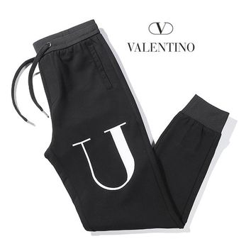 Valentino Fashion Women Men Casual Embroidery Running Pants Trousers Sweatpants