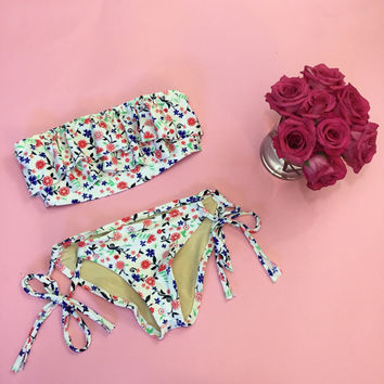 Floral Ruffle bandeau swimsuit MORE COLORS