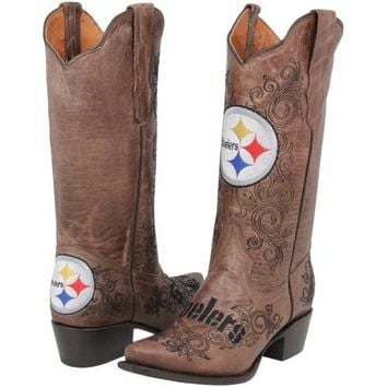 Pittsburgh Steelers Womens Embroidered Cowboy Boots - Brown