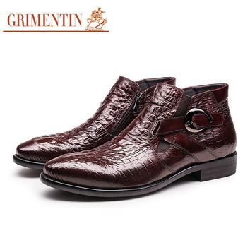 GRIMENTIN ankle boots men genuine leather black brown buckle Italian fashion business office wedding male mens boots shoes
