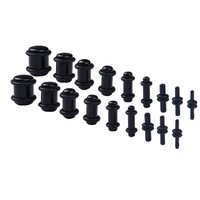 BodyJ4You 18PCS Plugs Stretching Kit 14G-00G Black Ear Gauges Set Acrylic Double O-Ring Expanders