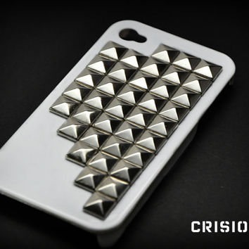 Iphone 4 / 4S white studded case / includedes screen by CRISION