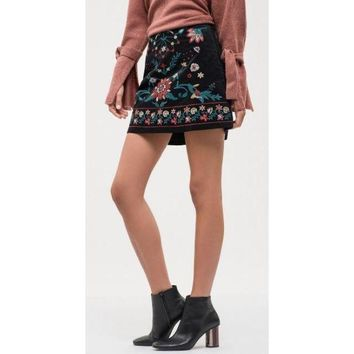 Blu Pepper Black Embroidered Skirt