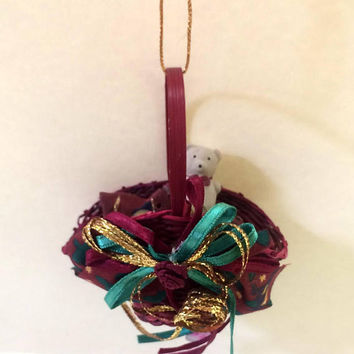 Teddy Bear Red Wicker Basket Christmas Ornament - Unique Handmade Vintage - Inexpensive Christmas Decoration - Holiday Decor - 1980