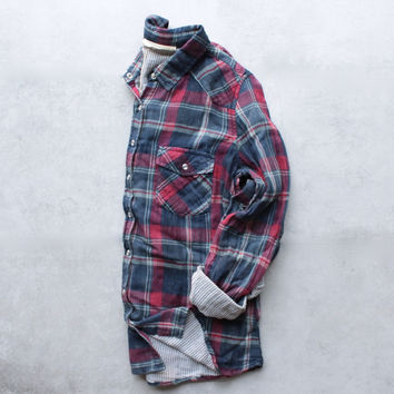 vintage affair soft button up womens plaid flannel long sleeve shirt - navy/red