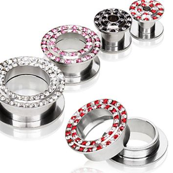 316L Surgical Steel Tunnel Plug with Two Tone multi gems