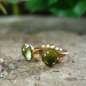 Tiny Hoop Earrings Gemstone Gold Peridot