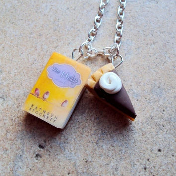 2 Slice Hilly- Help Necklace with Book Charm and Polymer Chocolate Pie Charm