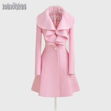 Women Fashion Trench Spring Coat  Wool  Lapel Outerwear