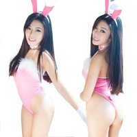 Hot Sexy Lady Cosplay Feather Rabbit Bunny Lingerie Uniform Jumpsuits Party Nightdress Sleepwear with Hair Clasp / Wristband / Tie
