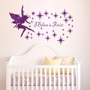 I believe in Fairy Tinkerbell Quote Nursery Wall Decals - Wall Vinyl Decal - Interior Home Decor - Housewares Art Vinyl Sticker  L653