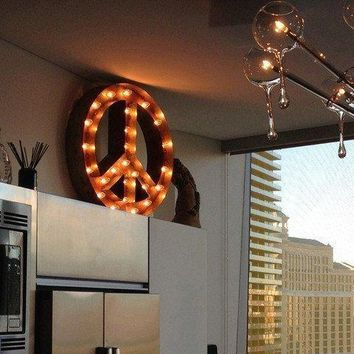 "24"" Peace Sign Vintage Marquee Sign with Lights (Rustic)"