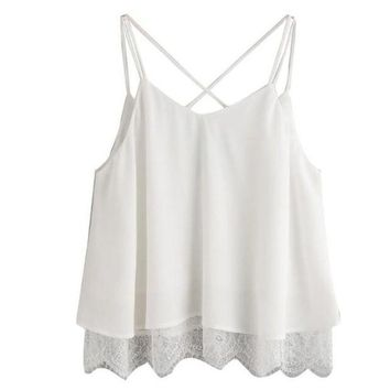 ONETOW woman tops chiffon white camis lace vest top sleeveless casual ladies crop tops tank t shirt short feminino