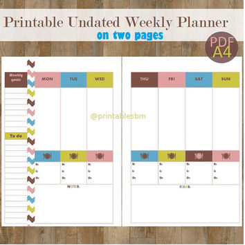 Printable Undated Weekly Planner On Two Pages/ A4 / Chevron / Washi Tape Pattern