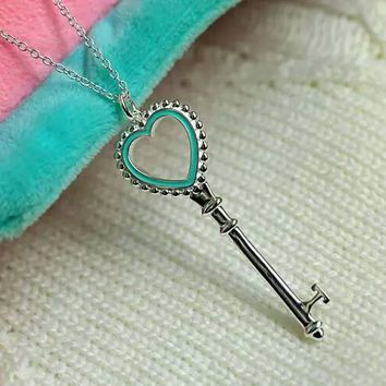 Tiffany fashion trend 925 sterling silver enamel heart big necklace high quality