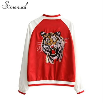Harajuku embroidery tigers female souvenir jacket sukajan 2016 collage basic baseball jackets coats for women autumn clothing
