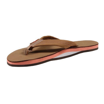 Women's Single Layer Premier Leather Sandal in Sierra Brown with Melon Arch by Rainbow Sandals