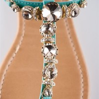 Glam Girl Jeweled Thong Sandal - Turquoise from Sandals at Lucky 21 Lucky 21