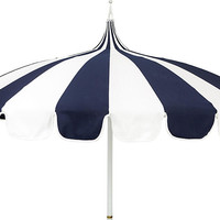 Pagoda Patio Umbrella, Navy/White - Patio Umbrellas & Stands - Outdoor Furniture - Outdoor | One Kings Lane