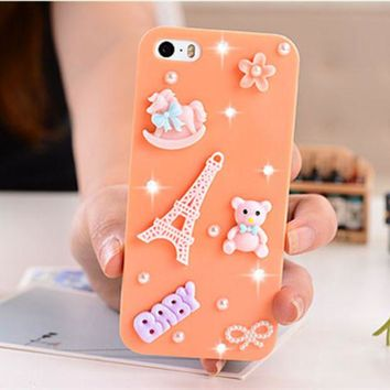 DCCK6HW Cute Cartoon Pearl Rhinestones Apple iPhone 5/5S Mobile Phone Hard Shell Case
