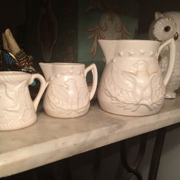 ceramic Eagle, americana measuring cups and creamer, stars, bird, kitchen decor